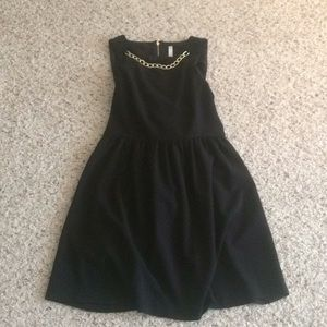 Black work dress w/ gold chain detail & zipper